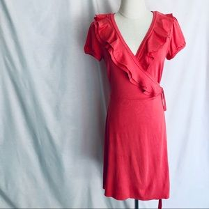 REVIEW Jersey Wrap Dress, Coral Pink RuffleSIZE 12